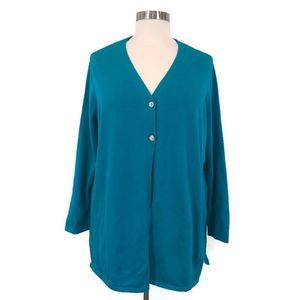 BEDFORD FAIR Teal Two Button Long Sleeve Cardigan